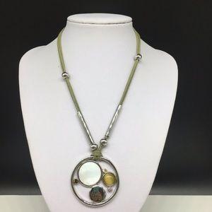 Lia Sophia Green Cord Crystal Rhinestone Necklace